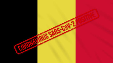 Belgium swaying flag stamped with positive response to COVID-19, loop Animation