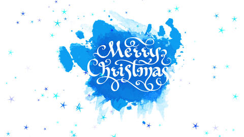 merry xmas season present cardboard with white ornamental offset drawn on rounded blue watercolor Animation