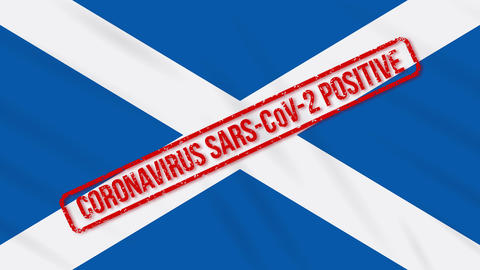 Scotland swaying flag stamped with positive response to COVID-19, loop Animation