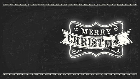west shepherd fancy merry christmas message with chalk retro offset over fancy framing on black Animation