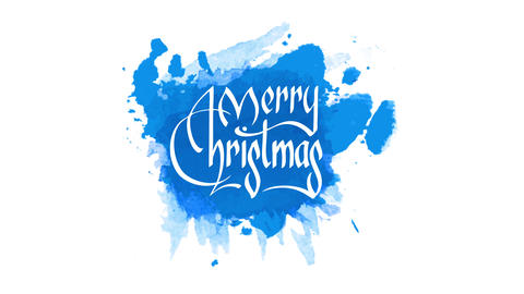 medieval style merry christmas text for greeting card written on messy blue watercolor stain in Animation