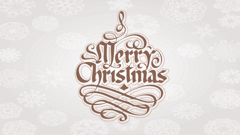 merry christmas cursive calligraphy style with hand drawn decorative elements over white background Animation