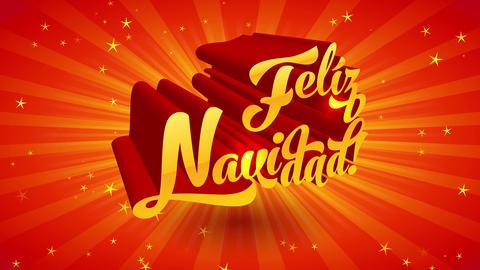 spanish merry christmas feliz navidad handwriting with 3d effect and sparkles over sun light scene Animation