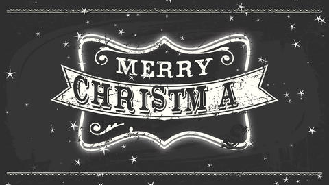 west shepherd fancy merry christmas message with chalk retro offset over stylish edge on black Animation