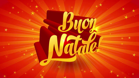 buon natale italian merry xmas folklore gold calligraphy with lighting forming deep of field on Animation