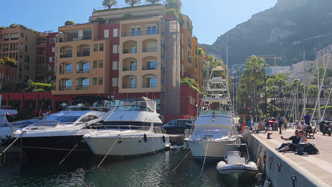 Monaco, Fontvieille, 24 May 2013: Luxury yachts in harbor of Monaco, port Live Action