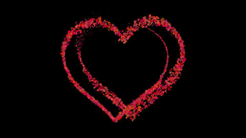 Celebration Heart Shape Particles with Alpha Channel Animation