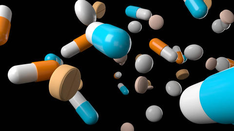 Various medicine and pills on black background Animation