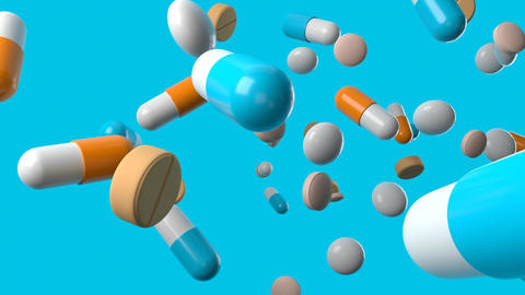 Various medicine and pills on blue background Animation