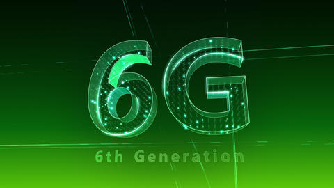 6G Digital Network technology 6th generation mobile communication concept Background 1 F2 green 4k Animation