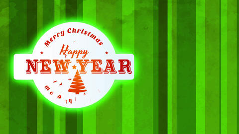 merry xmas and cheerful new year time towards give display interior mini rounded icon located on top Animation