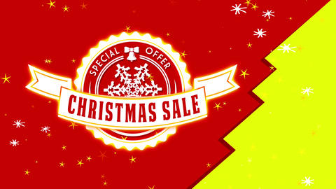 xmas trading special proposal announcement with circular impression on red scene with green tree Animation