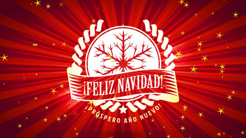 spanish merry xmas feliz navidad with pine tree branches forming flake over lined sunshine Animation