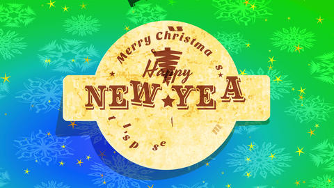 its display time merry christmas and cheerful new year message with cork sign over green and blue Animation