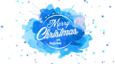 merry christmas and happy new year retailer window display with classic offset on blue watercolor Animation