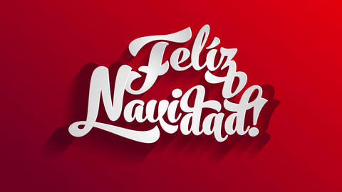 spanish merry christmas feliz navidad written on white 3d typography over a bright red surface Animation
