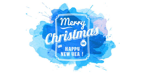 merry christmas and happy new year publicity display with white letters inside elegant frame stamped Animation