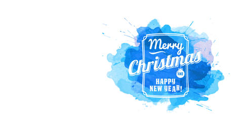 merry christmas and smiling new year publicity display with white writing in elegant framing stamped Animation