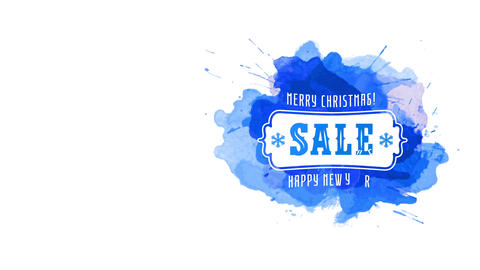 merry xmas cheerful new year seasonal transfer gala art concept over splatter of blue watercolour Animation