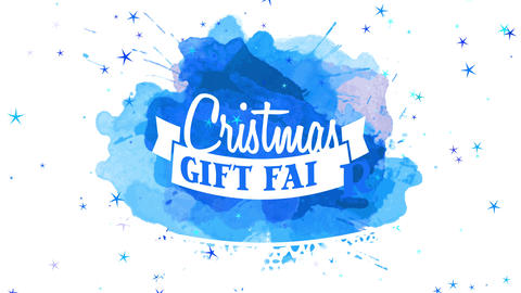 merry christmas offer ethical progress advertising with white embroidered flake under medal on blue Animation