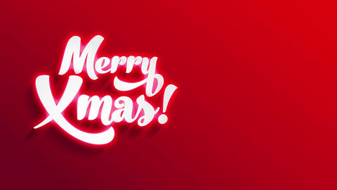 merry xmas white letters with 3d and lightning effect shading on red wrapping paper space Animation