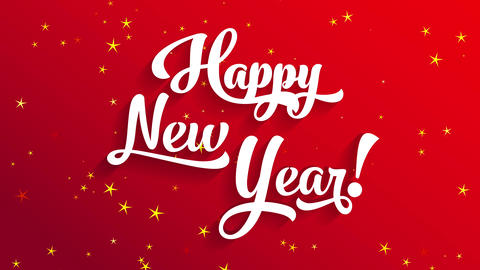 white 3d calligraphy cheerful new year text on red scene with directional lighting creating darkness Animation