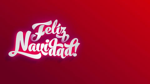 spanish merry christmas feliz navidad written on white 3d offset over a shiny red space Animation