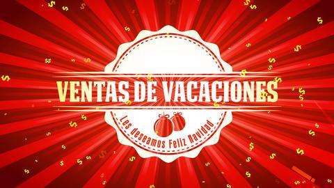 spanish feliz navidad ventas de vacaciones christmas vacation sales with greetings text on shiny Animation