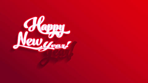 white 3d handwriting happy new year text on red background with directional lighting creating shade Animation
