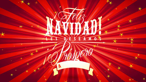 merry xmas spanish feliz navidad vacation ceremony billboard with glossy gold message over red Animation