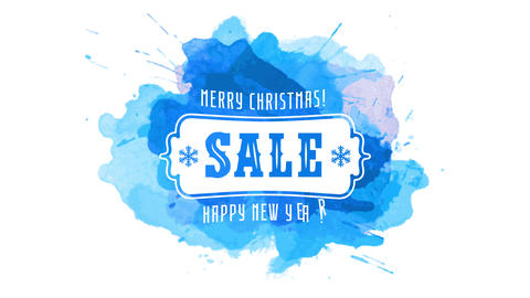 merry christmas happy new year winter sale festive art concept over splash of blue watercolor Animation
