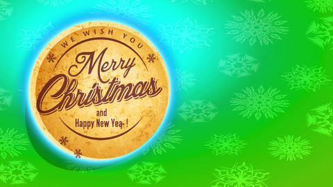 merry xmas and smiling new year rounded cork texture print detaching from flake template scene Animation