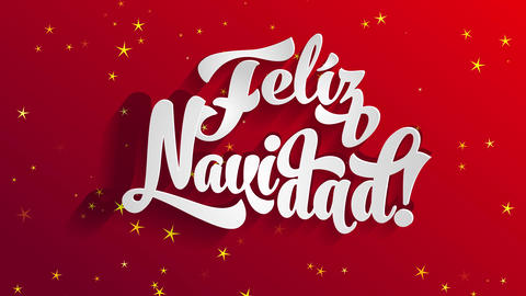 spanish merry xmas feliz navidad written on white 3d typography over a glowing red space Animation