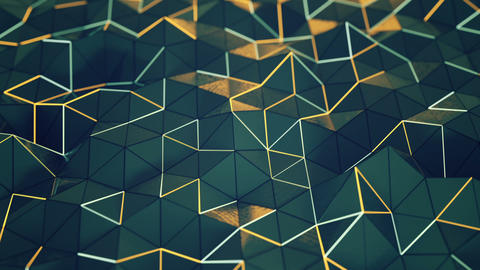 Polygonal chaotic surface with glowing edges seamless loop 3D render animation Animation