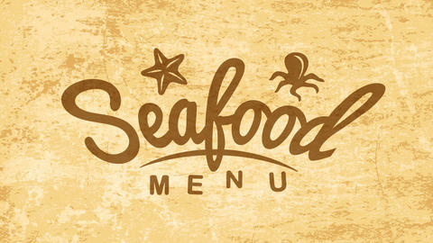 creative seafood brand sign for cooking business with small starfish and octopus graphics over old Animation