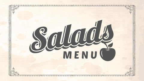 veggie restaurant salads cover art with vintage monochromatic billboard with rounded food stains Animation