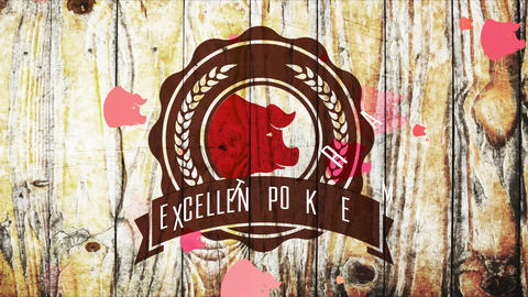 excellent pork meat seal with cereal branches and pig head on timber background for butcher store Animation