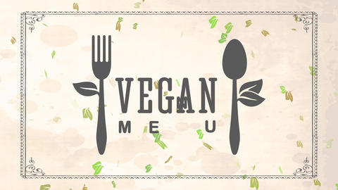 vegan food sticker concept for healthful nurture tavern with recycled cutlery garnished with leafs Animation