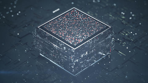 Central processing unit is analyszing data seamless loop 3D render animation Animation