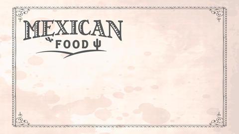 retro mexican nourishment bistro art with folk western script on white damaged paper texture scene Animation
