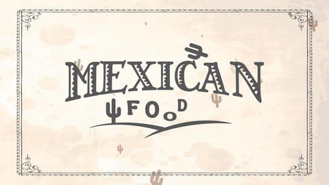 retro mexican nutrient dining room art with folk western script on white stained cardboard texture Animation