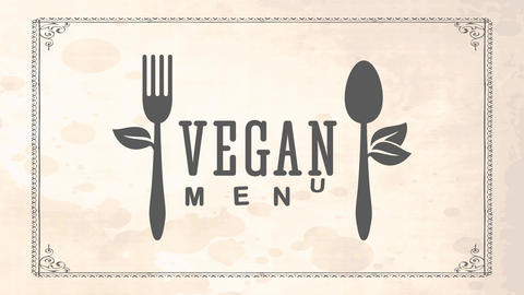 vegan cuisine tag concept for organic food restaurant with recycled cutlery decorated with leafs Animation