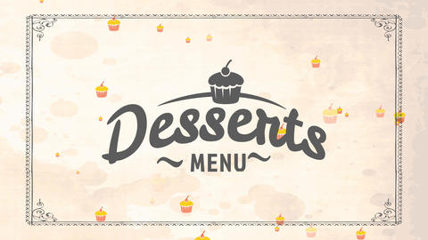 treat list cover for formal tavern with cupcake artwork and cursive font on mature cardboard scene Animation