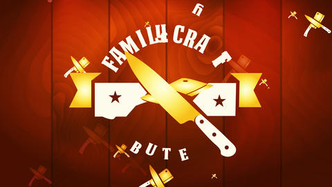 family handicraft killing theme sign for nourishment industry employment with round mark above right Animation