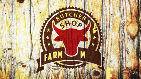 butcher shop farm meat restaurant stencil style theme graph with red cow head over weathered wooden Animation