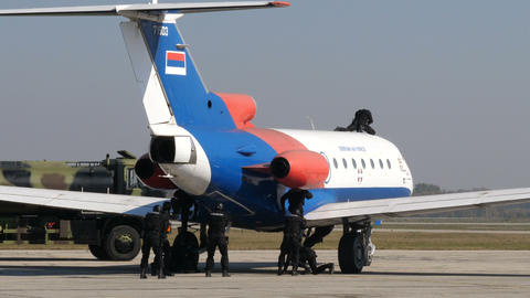 Serbia Police Special Force arrives at Airport with Military Off Road Vehicles Live Action