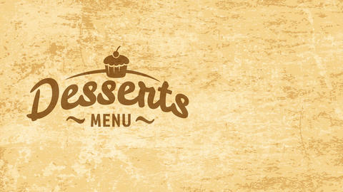 tasty treat sticker concept with cursive typography over golden antique background for coffee shop Animation