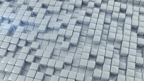 White glossy cubes seamless loop 3D render animation Animation