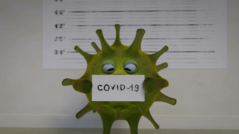 Criminal shot of crovid-19 virus 3D render animation Animation