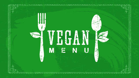elegant vegan restaurant chalk text with leafs coming out of fork and spoon with frayed texture Animation